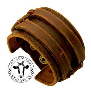 Genuine Leather Bracelets Brown Punk Cuff Country